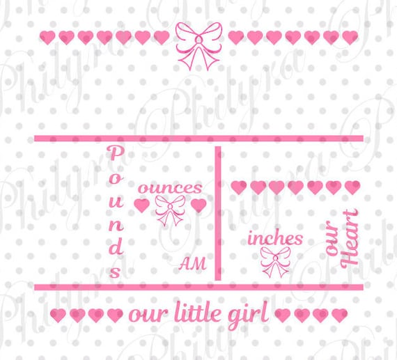 Baby Girl Birth Statistic Template Birth Announcement Svg ...