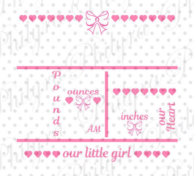 baby girl birth statistic template birth announcement svg. Black Bedroom Furniture Sets. Home Design Ideas