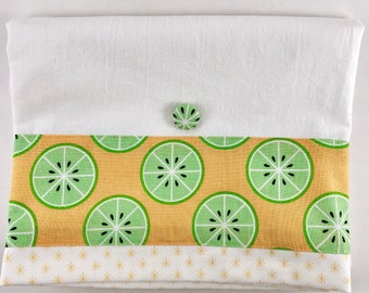Mother's Day- Summertime lime slices gifts - Kitchen tea towels with high quality quilting fabric accent