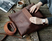 Leather tote bag, crossbody handbag, leather shoulder bag, leather tote, women bag, brown shoulder bag, genuine leather tote, wooden handle