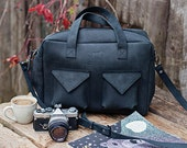 Black laptop bag - leather laptop bag - crossbody laptop bag - laptop bag with zipper - hippster bag - travel bag - vacation bag