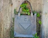 Gray leather tote bag - gray leather shoulder bag - grey leather bag - grey leather purse - large leather bag