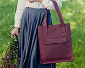 Aubergine leather tote - leather tote bag - leather handbag - leather tote - genuine leather tote - minimalist bag - bag with zipper