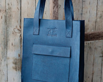 Blue leather tote bag - classical leather tote bag with front pocket - leather tote - blue leather shoulder bag - back to school bag