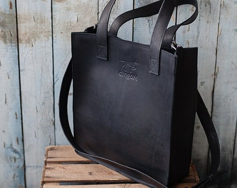 Black leather tote - crossbody bag - leather handbag - leather bag - handmade leather bag - tote bag - leather tote bag