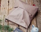 Genuine leather hobo bag with regulated handle - mat leather shoulder bag - autumn bag - brown hobo - cacao hobo