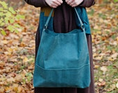 Genuine leather hobo bag with regulated handle - mat leather shoulder bag - teal colour hobo bag