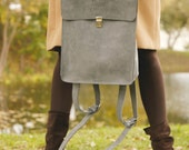 Grey genuine leather backpack - grey leather rucksack - leather backpack - leather rucksack - summer backpack - fall bag - back to school