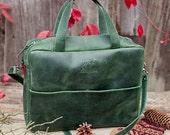 Leather laptop bag - bag with zipper - laptop bag women - laptop bag men - green leather bag - crossbody laptop bag