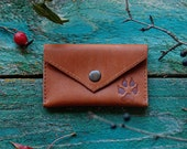 Leather coin purse - leather coin pouch - card holder - leather card holder - dog lover gift