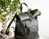 Leather Backpack - Leather Rucksack - Green Leather Rucksack - Green Leather Backpack with Zipper - Back to school - Hippster bag