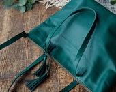 Big Leather Shoulder Bag with Zipper, Leather cross body bag, crossbody bag, leather tote bag, green natural leather bag, easter bag