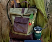 Waxed Canvas and Leather Backpack, Canvas and Leather Rucksack, Genuine Leather and Canvas Backpack