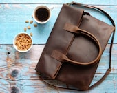 Large brown genuine leather cross body foldover purse - crossbody leather foldover bag - long tote - brown full grain leather bag