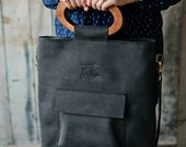 Wooden purse handles - cross body tote - wooden handles bag - bag with front pocket - black leather tote - crossbody tote bag