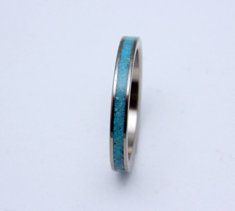 Genuine Turquoise Band Titanium and Turquoise stacking ring