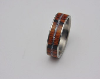 Titanium and Ironwood inlay wood ring with Mother of Pearl inlay  Handmade wedding band,  Bentwood ring, Birthday gift, Anniversary gift