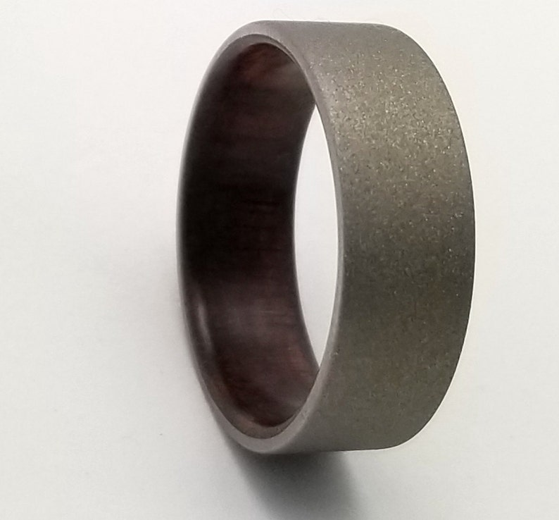 sandblasted titanium ring Titanium wedding band with upcycled Black Walnut wood from antique Victorian era table legs walnut wood ring