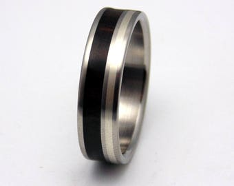 Mens Wedding Band, Titanium with Ebony Wood, Silver Inlay, engagement ring