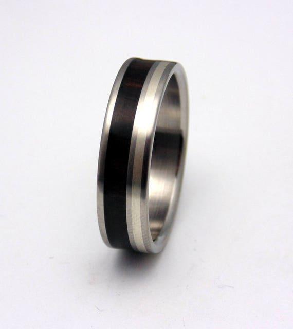 Herren Ehering Titan Mit Ebenholz Holz Silber Ring Etsy