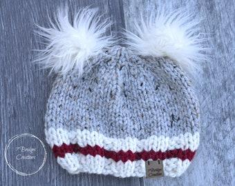 Kids Sock Monkey Inspired Knit Beanie Hat with Faux Fur Pompom f2dbdc5eb13d