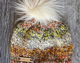 4-10yo Child's Knit Beanie Hat w/ Detachable Faux Fur Pom pom