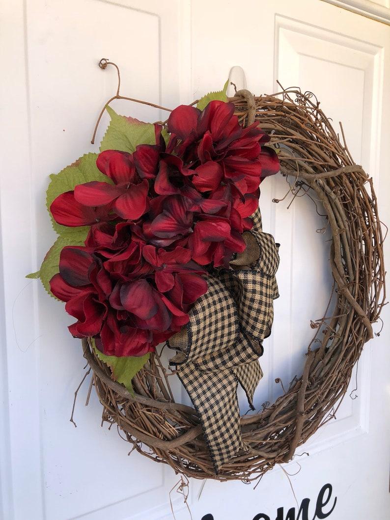 Hydrangea wreath  Grapevine Wreath  Everyday Wreath  Front Door Wreath  Wreath for Fall  Hydrangea Grapevine Wreath  Wreath  Porch
