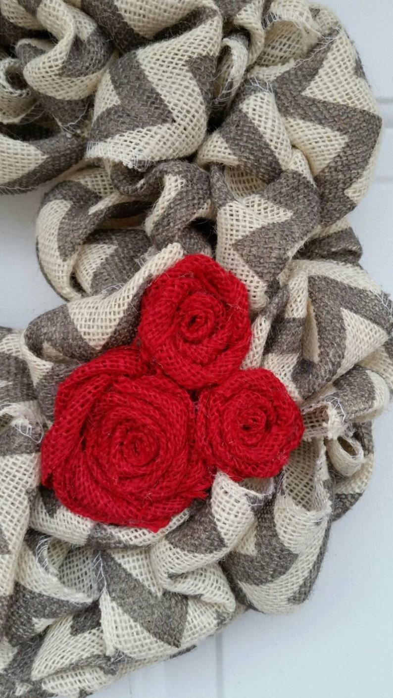 Valentine wreath  burlap wreath  chevron wreath  Love burlap wreath  valentine chevron wreath