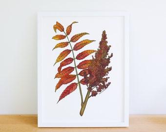Garden Sumac in the Sunlight Original Soft Pastel Fine Art