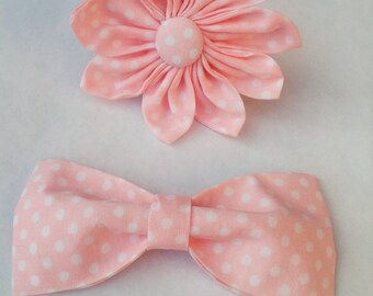 Pink Polka Dot Baby Girl Dog Bow Tie and Flower Bow