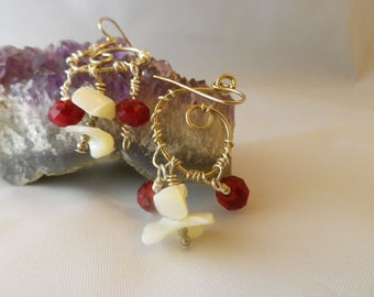Ocean and Fire,ruby red Garnet Czech beads and Shell beads Wire Wrap earrings