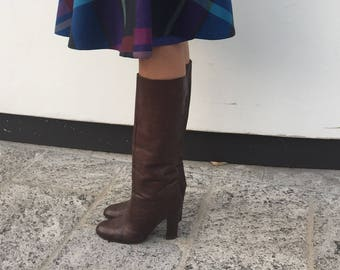 Vintage Leather Boots / Vintage 70s Boots / Leather Boho Chic Boots / Small Boots / Boots USA 7 UK 5 / EU 38