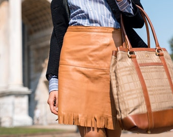 Vintage Leather Mini Skirt with fringes in beige