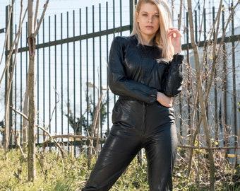 Vintage genuine leather jumpsuit in black, Woman Made in Italy leather jumpsuit, Black jumpsuit leather small
