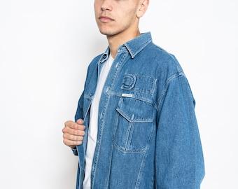 Vintage Denim Shirts Men with Pockets Size L