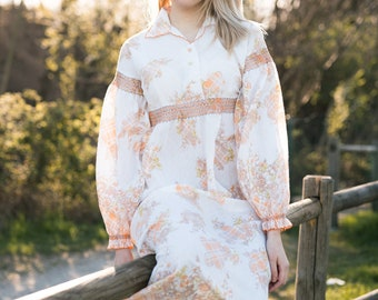 Vintage 70s Floral Cottagecore Dresses Nighty,  Lace Maxi Boho Hippy Silk Victorian Nightgown Dress