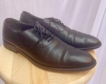 Vintage Gucci Leather Oxford Shoes in black Lace Up US 8.5 EU 42 UK 8, Dress Men Gucci Black Shoes