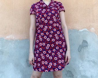 Vintage 60s Floral Mini Dresses Collared,60s Floral Dress size Small
