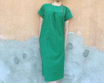 Vintage 60s Goldworm Floral Maxi Dress, Vintage 70s Maxi Praire Dresses in green