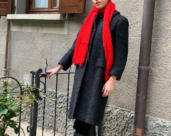 Vintage 1960 Collared Coat in Wool Dark Grey