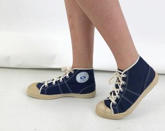 c9d821978 Superga 70's Blue Canvas Sneakers, High Top Sneakers Superga, Rare  Collectors Superga vintage 70's size EU 38.5 / UK 5.5 / USA 7.5