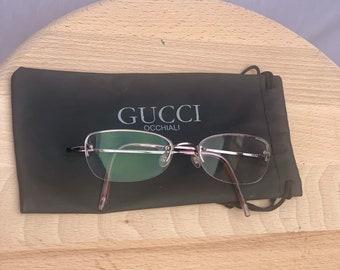 Vintage Gucci Rare TITANIUM Purple EyeGlasses Frame, Gucci Rimless Eyeglass Frames from 1990's  N