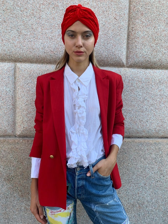 Vintage 1980 Red Blazer Jacket Boxy Double Breaste