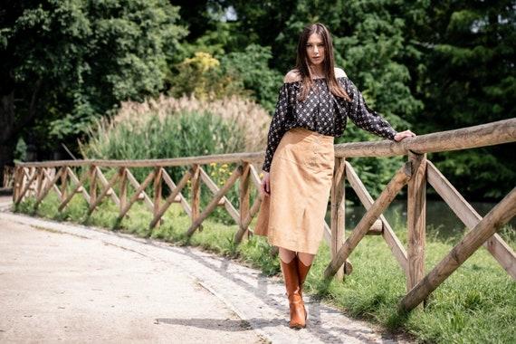 High slit suede skirt, ankle grazing skirt, column