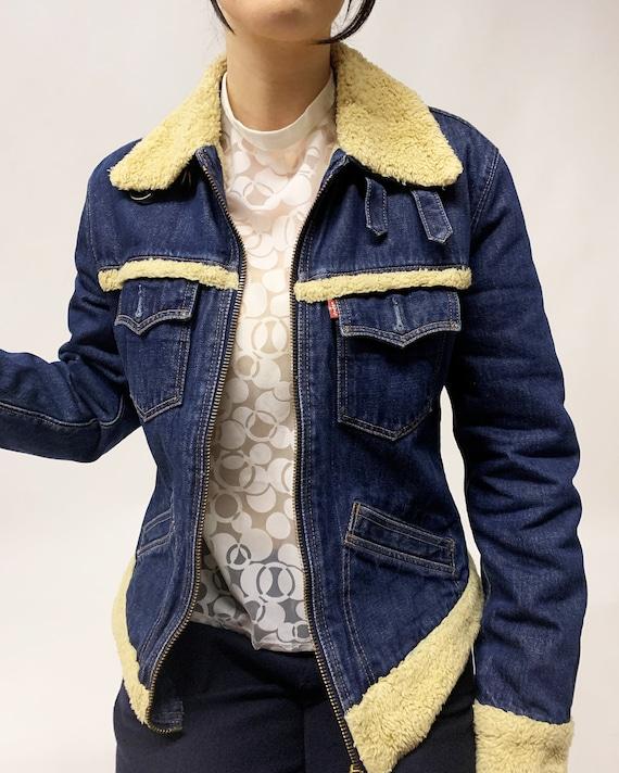 Vintage 1970 rare denim jacket with faux fur, Coac