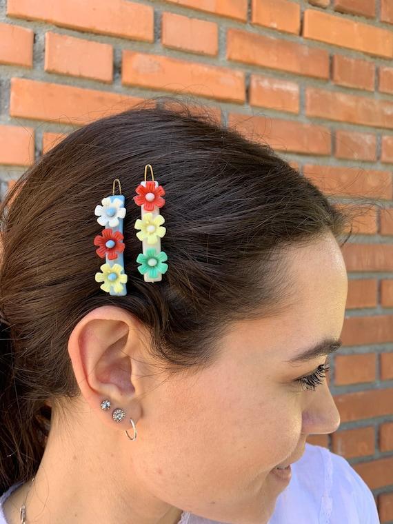 Vintage Flowers Set Hair Clips, Vintage HairBarre… - image 1