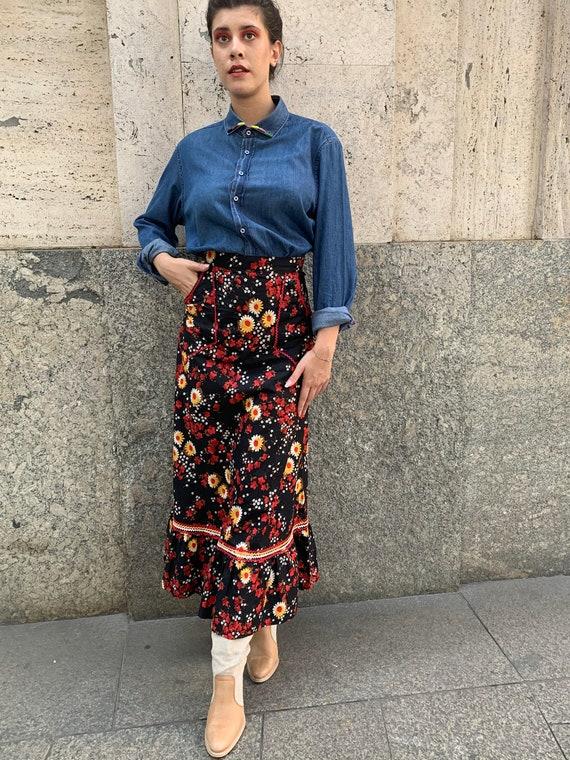 Maxi skirt 70s, 70s maxi skirt, floral maxi skirts