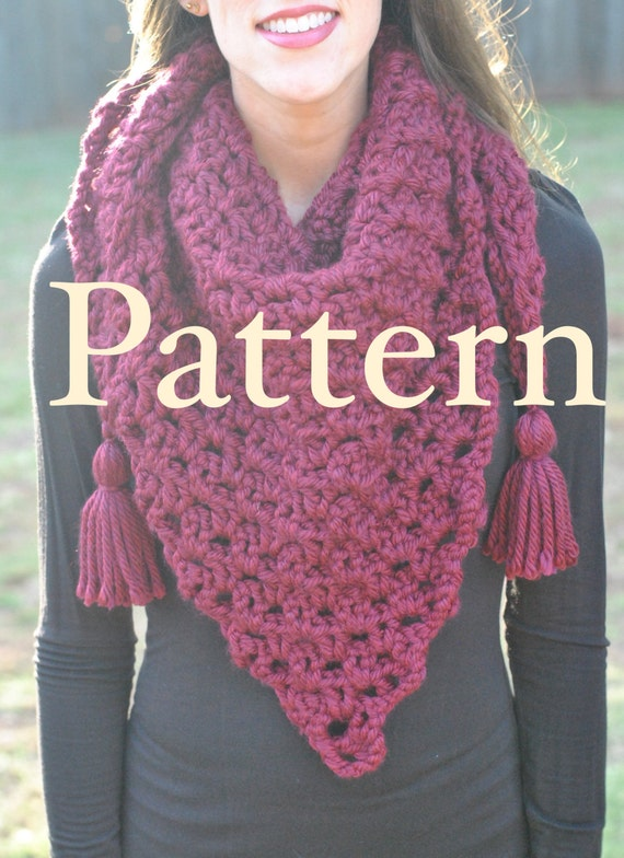 Dublin Bay Scarf Pattern Chunky Triangle Scarf Pattern Large Etsy