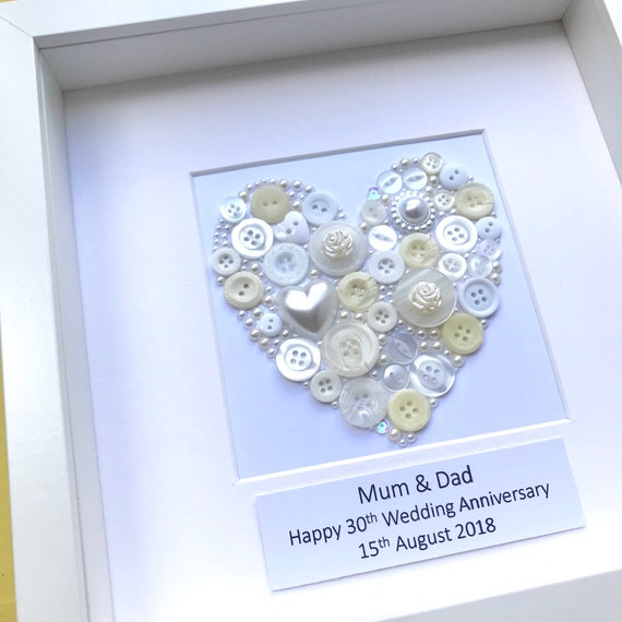 Personalised Pearl Wedding Anniversary Gift Pearl Button