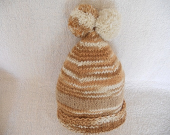 3cdc792c45e Hand Knitted Baby Hat. Unisex with two pompoms. Natural Wool Winter Hat.